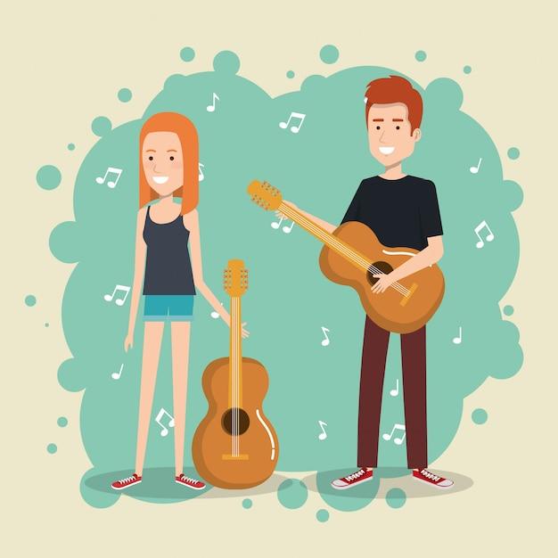 Festival de musique en direct avec un couple jouant de la guitare Vecteur gratuit