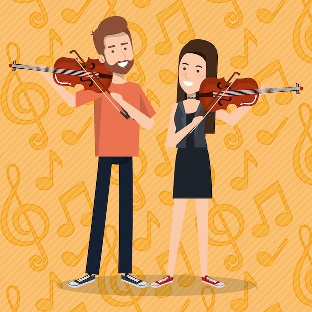 Festival de musique en direct avec un couple jouant des violons Vecteur gratuit