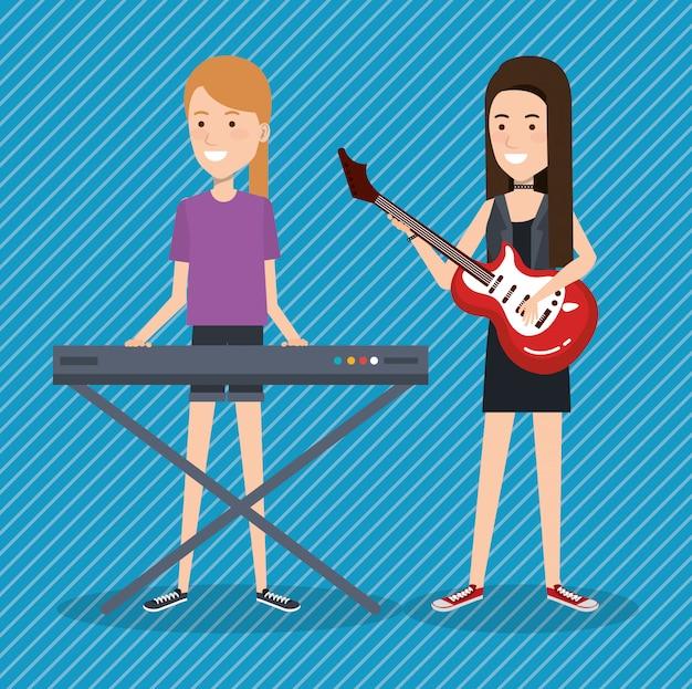 Festival de musique en direct avec des femmes jouant du piano et de la guitare Vecteur gratuit