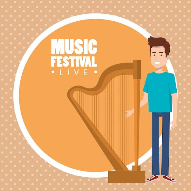 Festival de musique en direct avec l'homme jouant de la harpe Vecteur gratuit