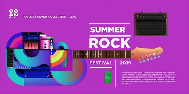 Festival de musique et de musique rock illustration vectorielle Vecteur Premium