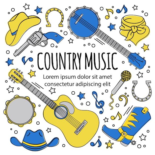 Festival de musique pays de l'ouest Vecteur Premium