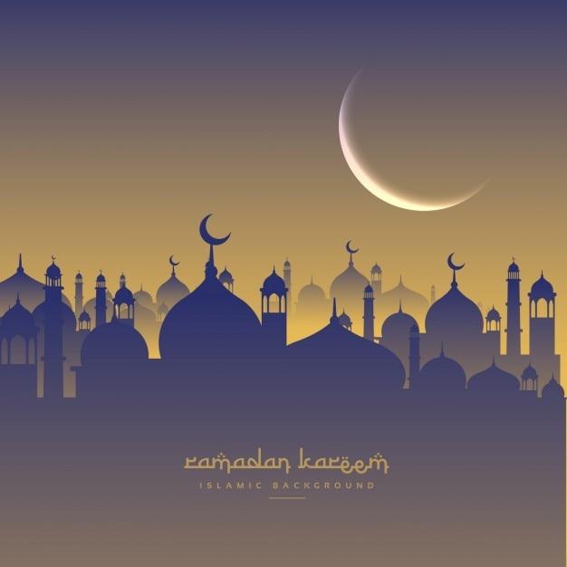 Festival De Ramadan Islamic Avec La Lune Et Masjid Vecteur gratuit