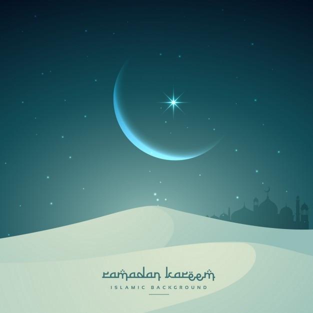 Festival ramadan kareem islamic avec la lune et les dunes de sable Vecteur gratuit