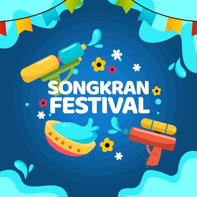 Festival De Songkran Avec Des Guirlandes Vecteur gratuit