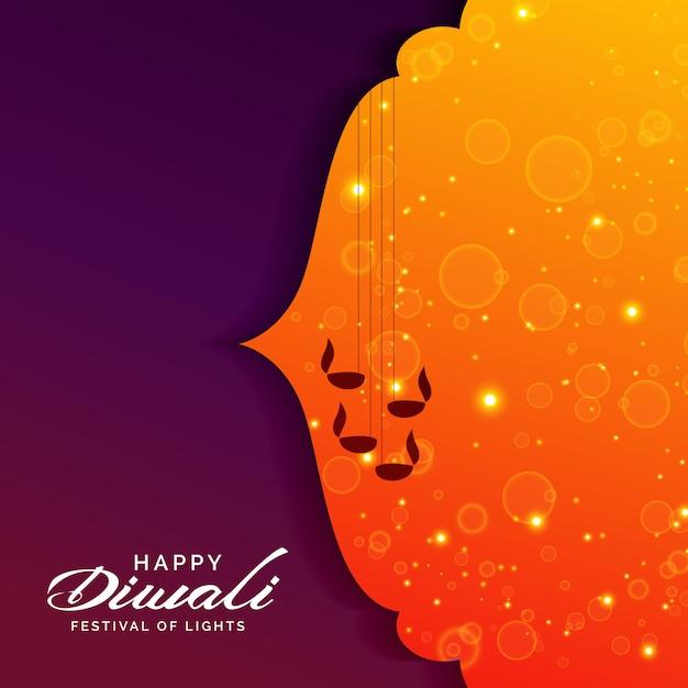Festival de voeux pour diwali avec des lampes diya suspendus Vecteur gratuit