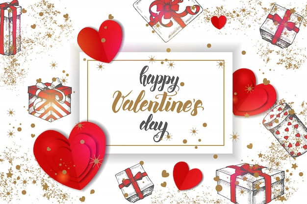 Festives saint valentin avec des cadeaux de doddle dessinés à la main, des confettis d'or et des coeurs en carton blanc. Vecteur Premium