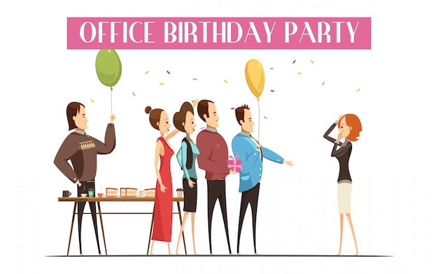 Fête d'anniversaire au bureau avec cadeau de gâteau et de boisson pour personnes joyeuses Vecteur gratuit