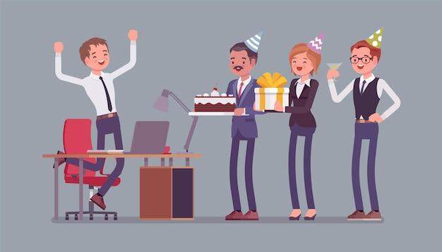 Fête D'anniversaire Dans L'illustration De Bureau Vecteur Premium