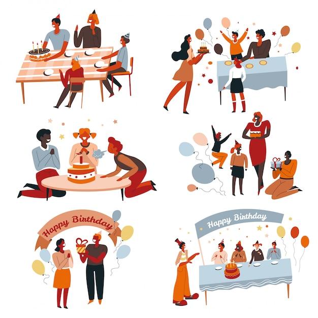 Fête D'anniversaire Et Gâteau, Enfants Et Parents Célébrant, Coffrets Cadeaux Vecteur Premium