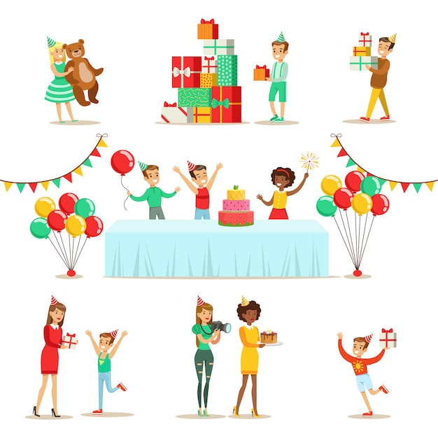 Fête D'anniversaire Pour Enfants Ensemble De Scènes Vecteur Premium