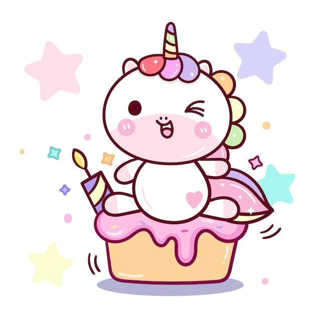 Fête d'anniversaire de vecteur de licorne kawaii Vecteur Premium