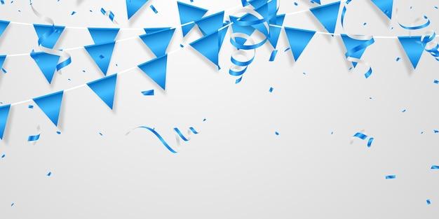 Fête Des Ballons De Couleur Bleu Vacances Modèle De Concept De Confettis Vecteur Premium