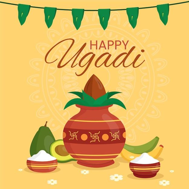 Fête De La Bannière Ugadi Vecteur gratuit