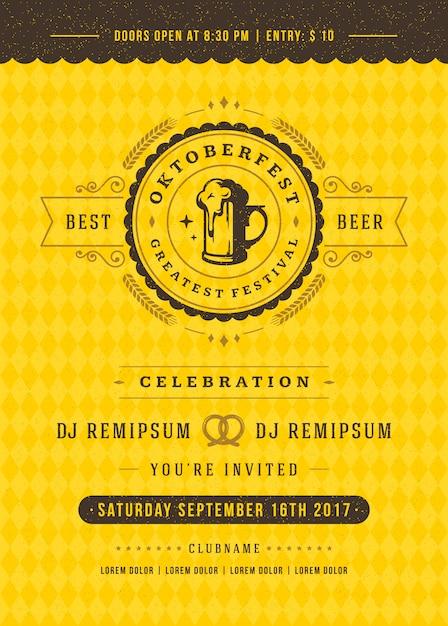 Fête de la bière oktoberfest célébration affiche de typographie rétro Vecteur Premium