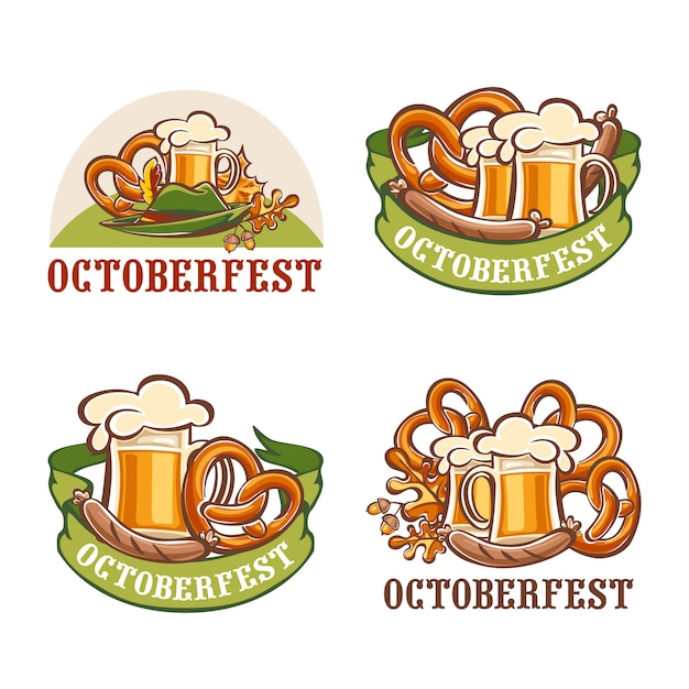 Fête de la bière oktoberfest ensemble allemand Vecteur Premium