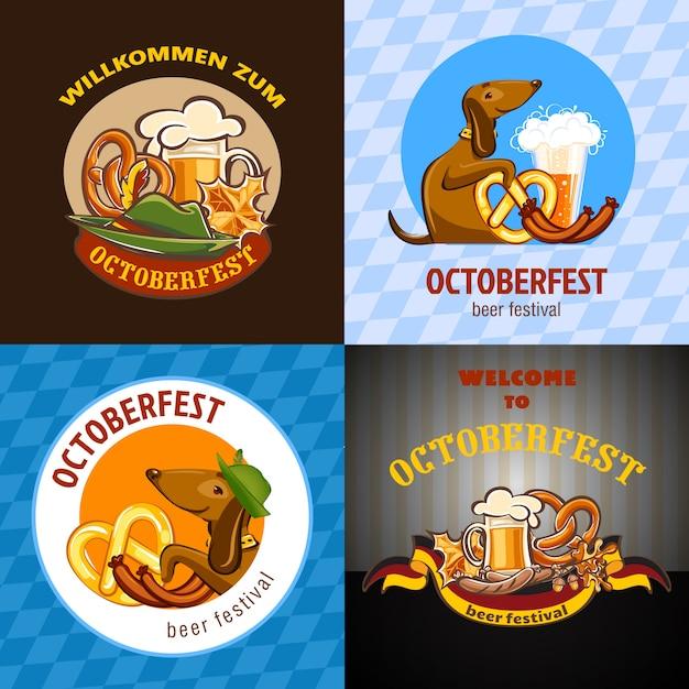 Fête de la bière oktoberfest origines allemandes Vecteur Premium