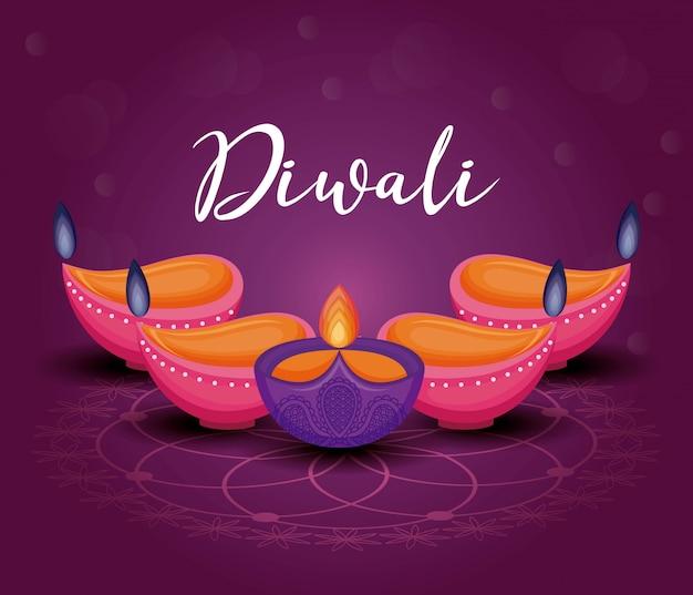 Fête des bougies diwali Vecteur gratuit