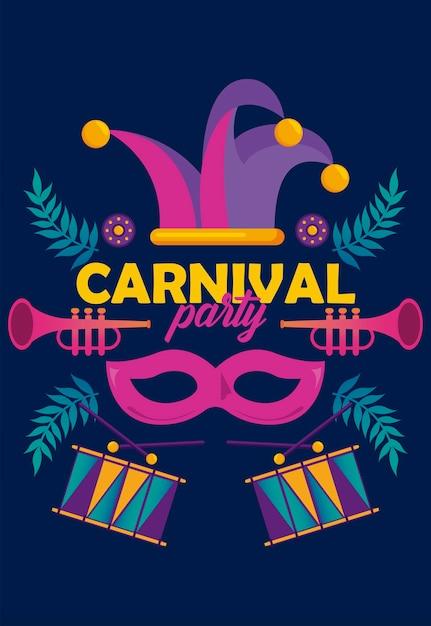Fête De Carnaval De Mardi Gras Avec Instruments Et Chapeau De Bouffon Vecteur Premium