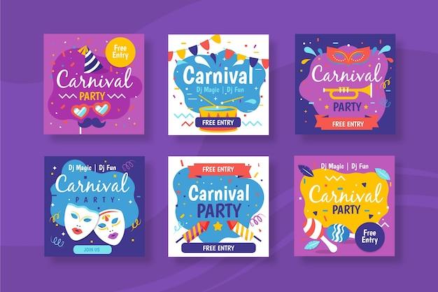 Fête De Carnaval Pour La Conception De La Collection Post Instagram Vecteur gratuit