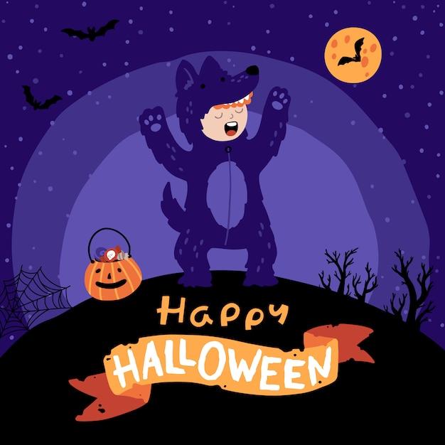 Fête Costumée Halloween Pour Enfants. Vecteur Premium