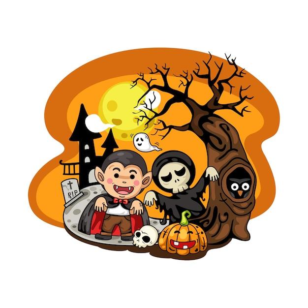 Fête Déguisée Halloween Enfants Isoler Sur Fond Blanc. Vecteur Premium