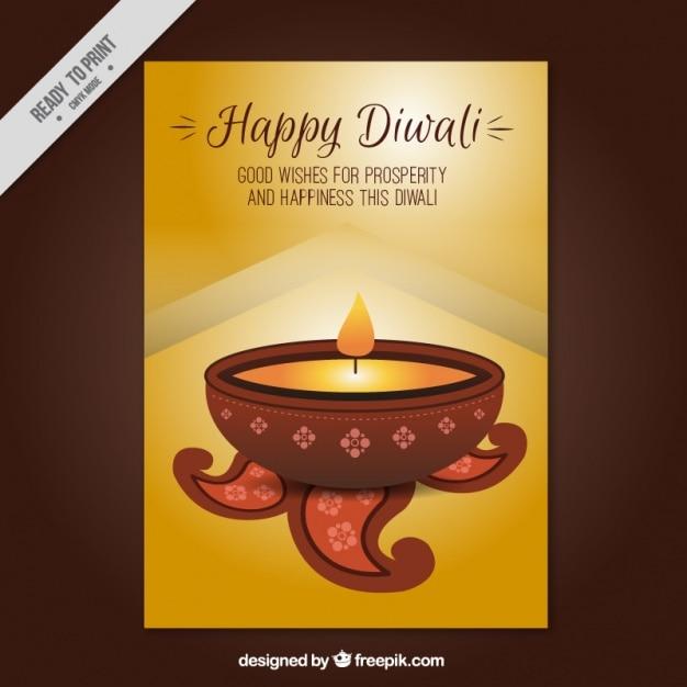Fête de diwali brochure d'or Vecteur gratuit