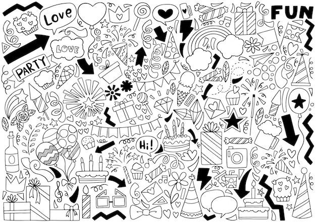 Fête doodle joyeux anniversaire Vecteur Premium