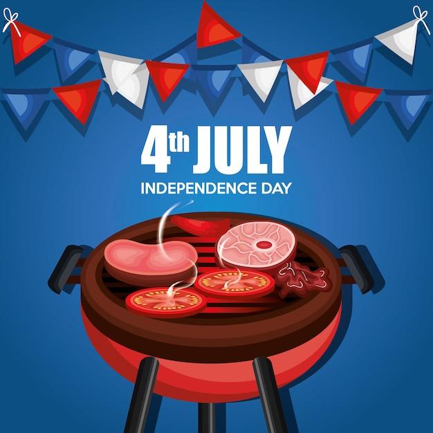 Fête du barbecue de la fête de l'indépendance des états-unis Vecteur gratuit