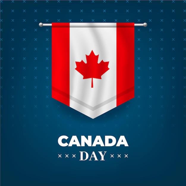Fête Du Canada Avec Drapeau Réaliste Vecteur gratuit