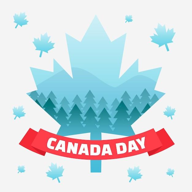 Fête Du Canada Avec Des Feuilles D'érable Et Des Arbres Vecteur gratuit