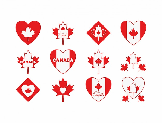 Fête du canada avec jeu d'icônes feuille d'érable Vecteur gratuit