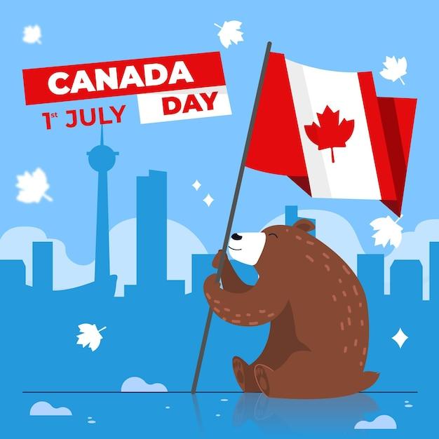 Fête Du Canada Avec Ours Tenant Le Drapeau Vecteur gratuit