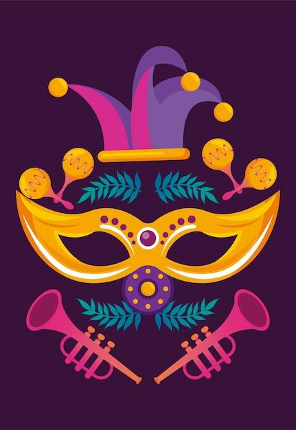 Fête Du Carnaval De Mardi Gras Avec Chapeau De Bouffon Et Trompettes Vecteur Premium