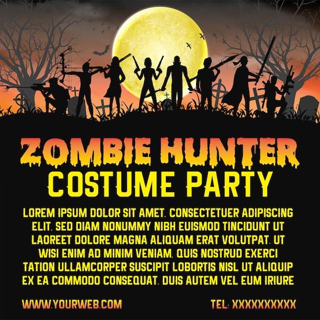 Fête du costume de chasseur de zombie halloween promouvoir affiche Vecteur Premium