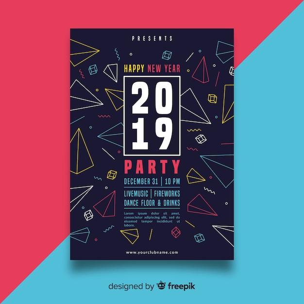 Fête du nouvel an 2019 Vecteur gratuit