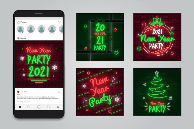 Fête Du Nouvel An 2021 Instagram Posts Vecteur gratuit