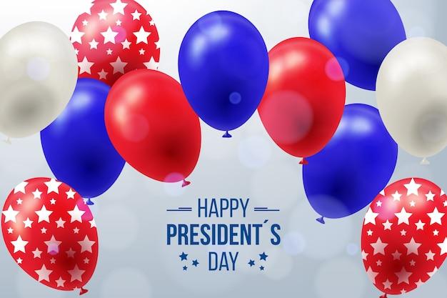 Fête Du Président Avec Des Ballons Et Des étoiles Réalistes Vecteur gratuit