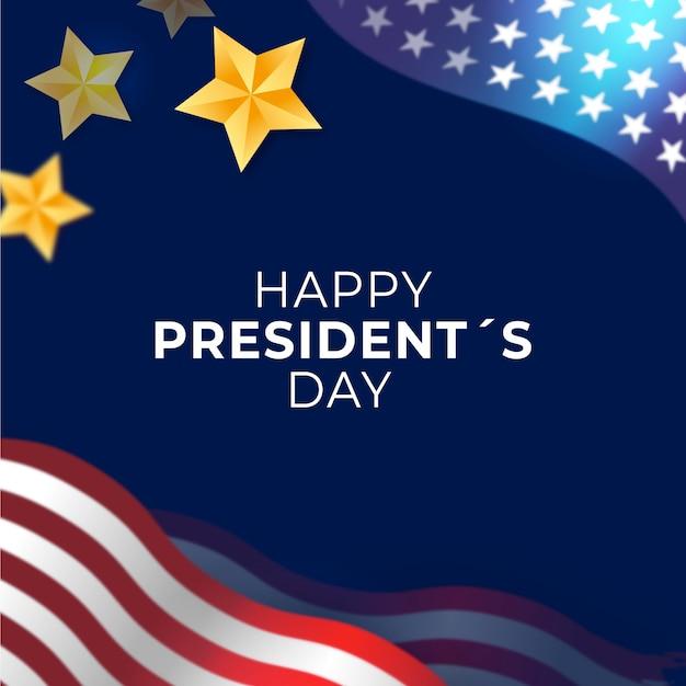Fête Du Président Avec Drapeau Et étoiles Réalistes Vecteur gratuit