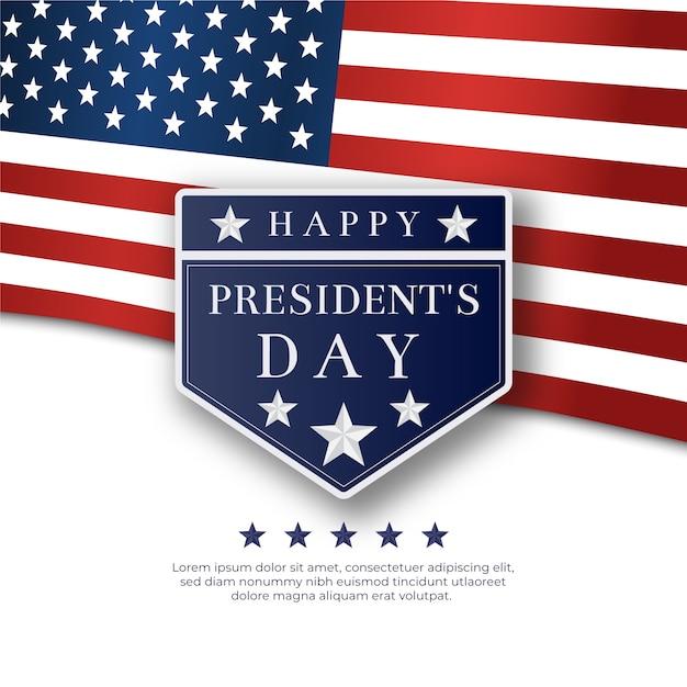 Fête Du Président Avec Drapeau Réaliste Vecteur gratuit