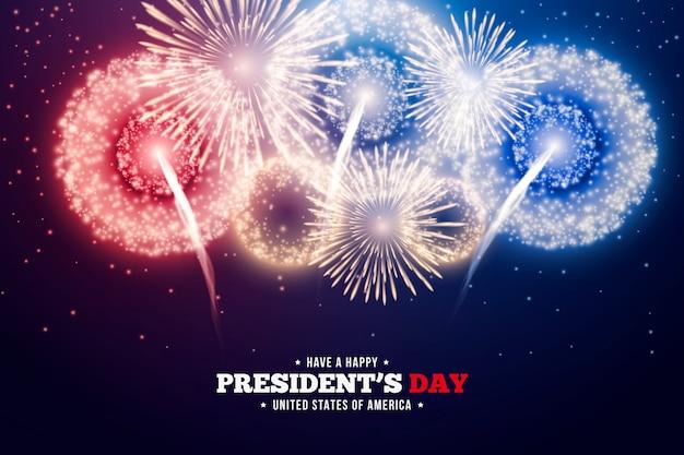 Fête Du Président Avec Feux D'artifice Colorés Vecteur gratuit