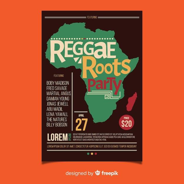 Fête du reggae roots Vecteur gratuit