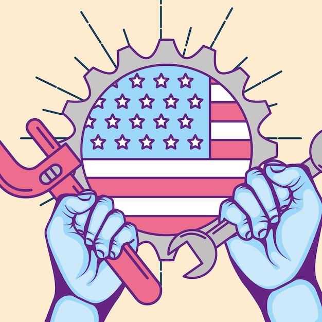 Fête du travail américaine Vecteur Premium