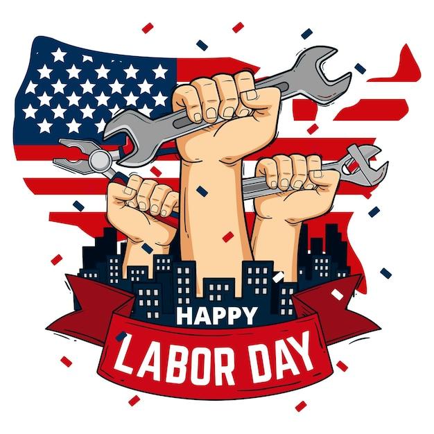 Fête Du Travail Dessinée à La Main Avec Les Mains Et Les Outils Vecteur gratuit