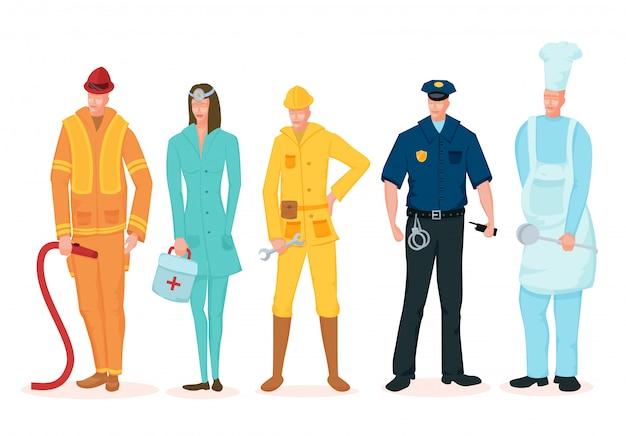 Fête du travail. un groupe de personnes de différentes professions sur un fond blanc. Vecteur Premium