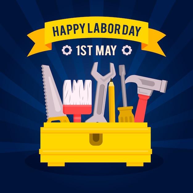 Fête Du Travail Avec Outils Et Salutation Vecteur gratuit