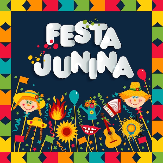 Fête du village festa junina en amérique latine. couleur vive. décoration de style plat. Vecteur Premium
