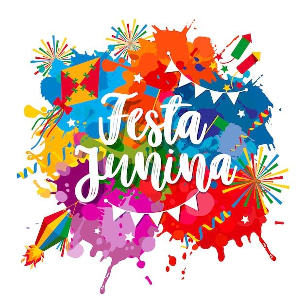 Fête du village festa junina en amérique latine. icônes définies dans des couleurs vives. décoration de style plat. Vecteur Premium