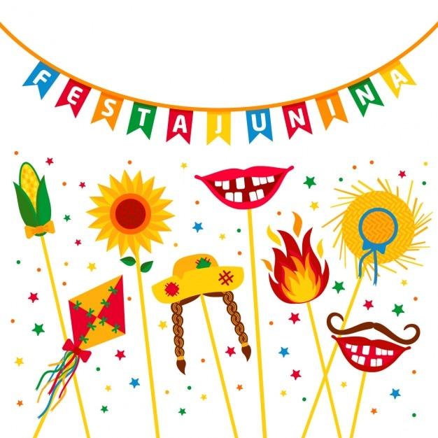 Fête du village festa junina en amérique latine icônes situé dans la couleur lumineuse décoration de style plat Vecteur gratuit