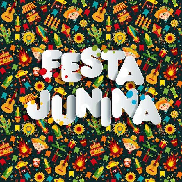 Fête du village festa junina en amérique latine. Vecteur Premium